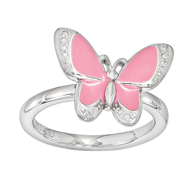 Stacks and Stones Sterling Silver Butterfly Stack Ring