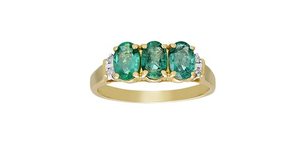10k gold emerald and diamond accent 3 stone ring for Kohls jewelry mens rings