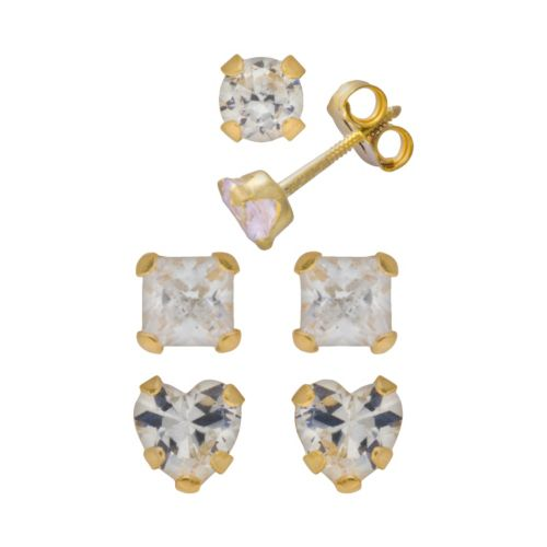 14k Gold Cubic Zirconia Stud Earring Set