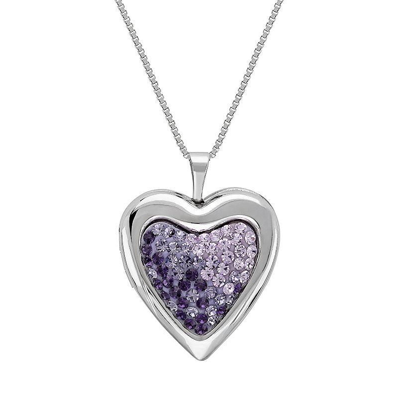 Sterling Silver Ombre Crystal Heart Locket