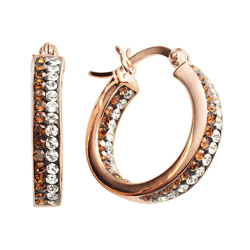 Sterling 'N' Ice 14k Rose Gold Over Silver Crystal Hoop Earrings - Made with Swarovski Crystals