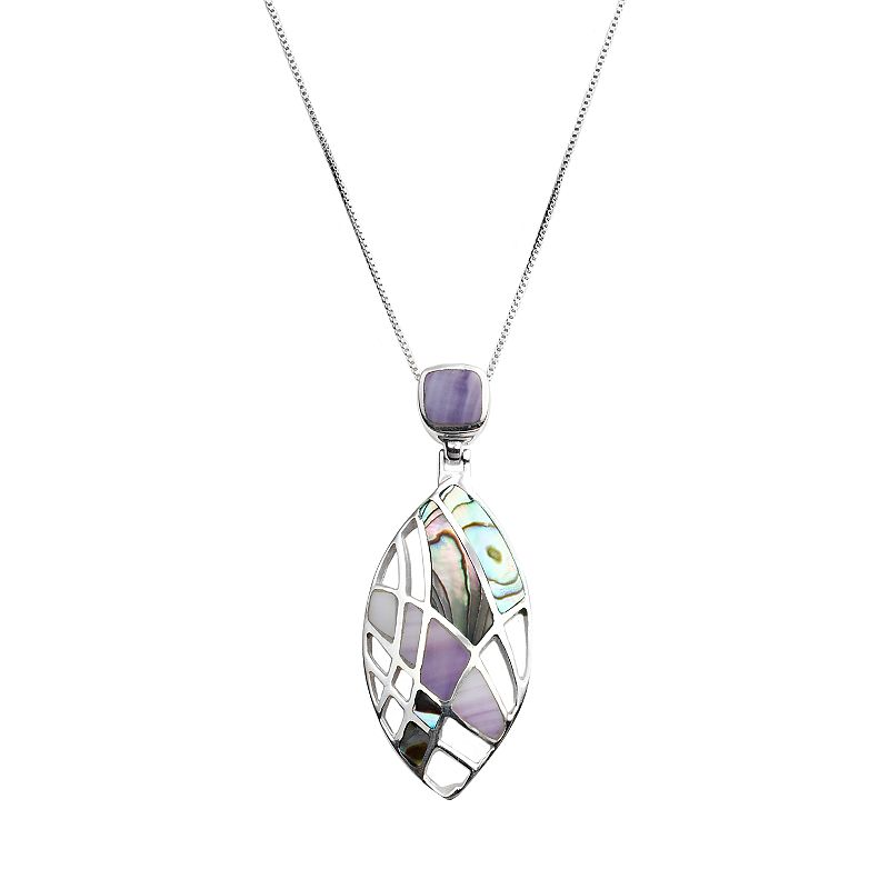 Sterling Silver Abalone and Purple Shell Openwork Pendant