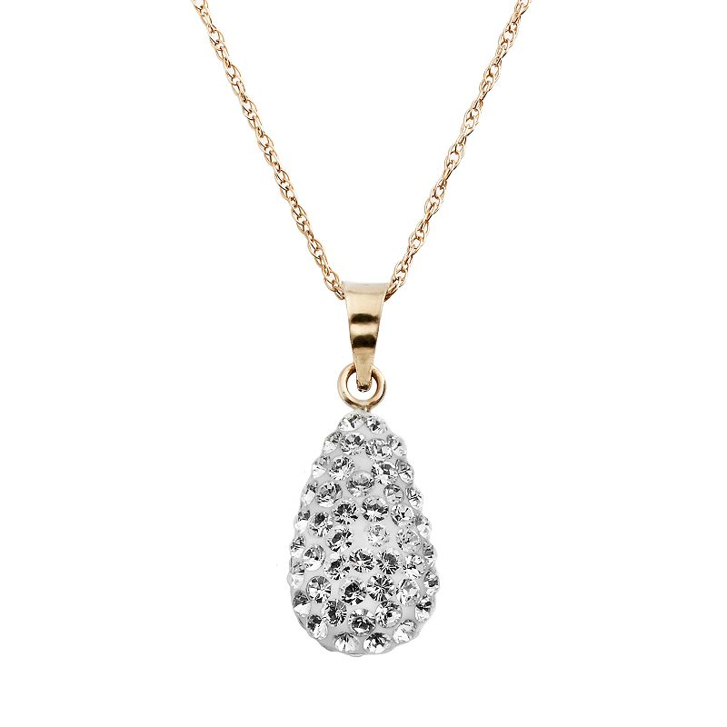 Gold 'N' Ice 10k Gold Crystal Teardrop Pendant - Made with Swarovski Crystals