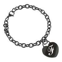 Sweet Sentiments Stainless Steel Black Ion-Plated Initial Heart Charm Bracelet