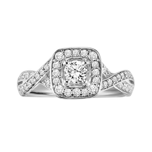 Love Always Round-Cut Diamond Frame Engagement Ring in Platinum Over Silver (5/8 ct. T.W.)