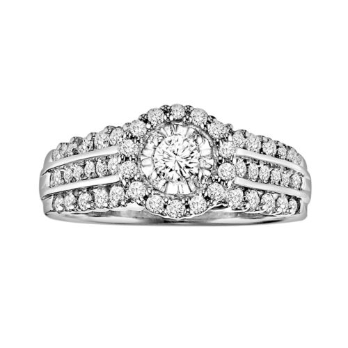 Love Always Round-Cut Diamond Frame Engagement Ring in Platinum Over Silver (7/8 ct. T.W.)