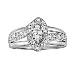 Love Always Diamond Frame Engagement Ring in Platinum Over Silver (1/5 ct. T.W.) by