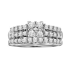 Love Always Princess-Cut Diamond Engagement Ring Set in Platinum Over Silver (3/4 ct. T.W.) by
