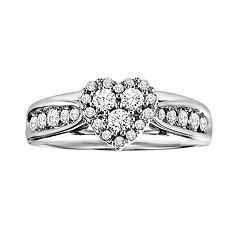 Love Always Round-Cut Diamond Heart Engagement Ring in Platinum Over Silver (1/2-ct. T.W.) by