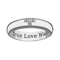 Sweet Sentiments Sterling Silver Diamond Accent Cross Purity Ring