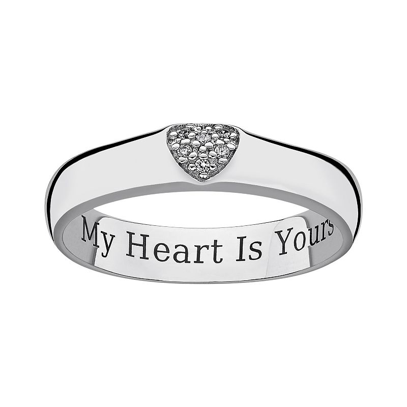 Sweet Sentiments Sterling Silver Cubic Zirconia Heart Band Ring