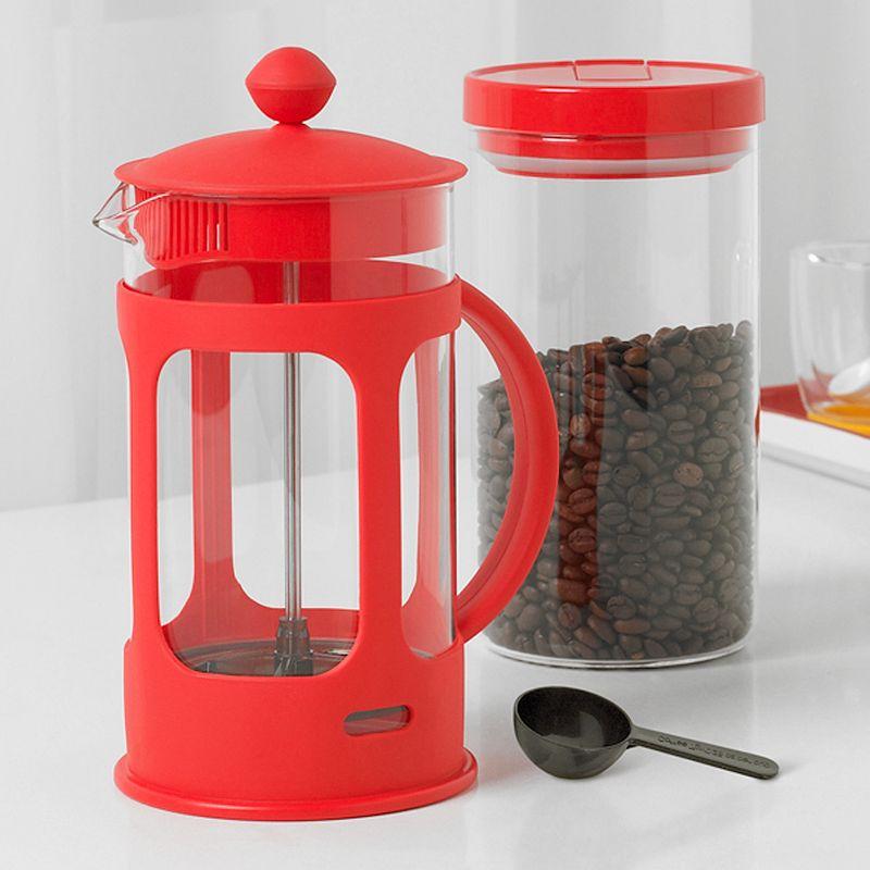 BELLA 2-PC. FRENCH PRESS COFFEE MAKER SET (RED)