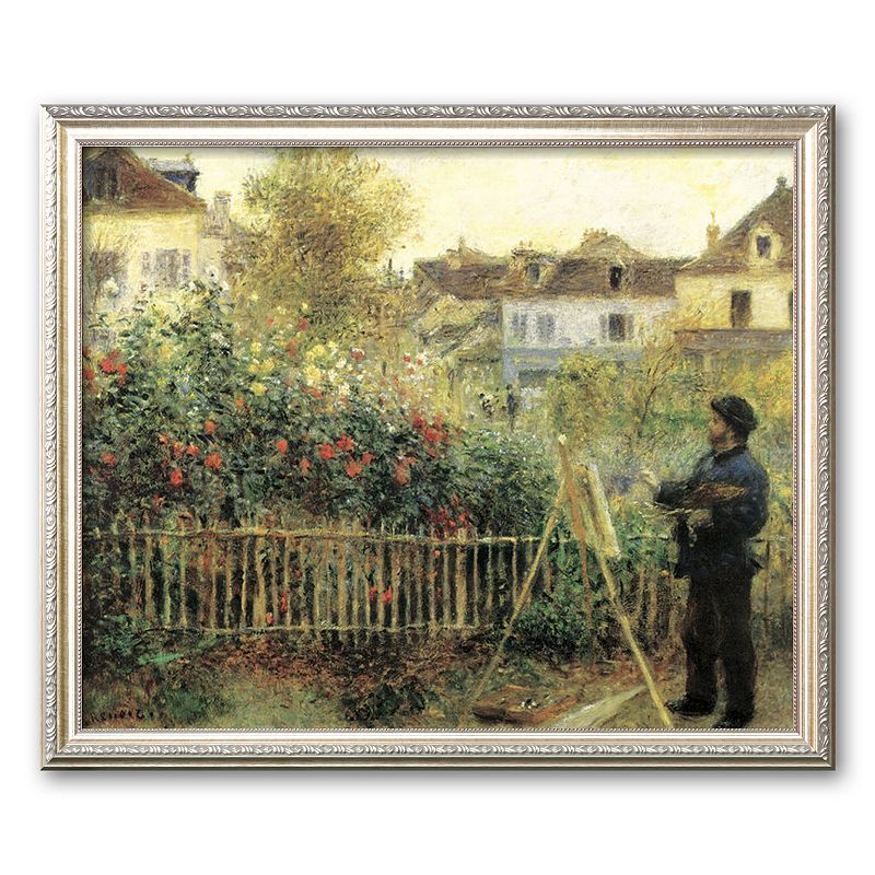 Art.com Monet Painting in His Garden at Argenteuil Framed Art Print by Pierre-Auguste Renoir