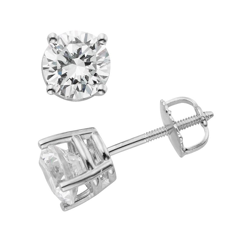 14k White Gold 2-ct. T.W. IGL Certified Round-Cut Diamond Solitaire Earrings