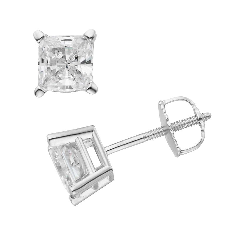 14k White Gold 1 1/2-ct. T.W. IGL Certified Princess-Cut Diamond Solitaire Earrings