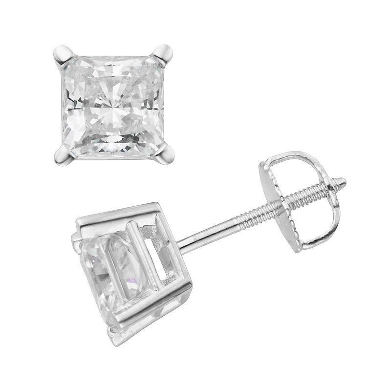 14k White Gold 2-ct. T.W. IGL Certified Princess-Cut Diamond Solitaire Earrings