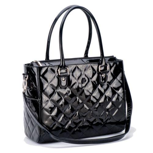 JP Lizzy Classic Faux-Patent Diaper Bag