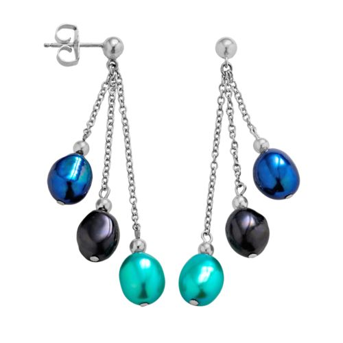 Freshwater by HONORA Sterling Silver Dyed Freshwater Cultured Pearl Drop Earrings
