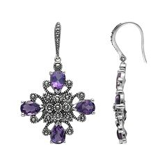 Lavish by TJM Sterling Silver Amethyst Drop Earrings Made with Swarovski Marcasite by