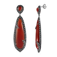 Lavish by TJM Sterling Silver Red Agate Drop Earrings - Made with Swarovski Marcasite
