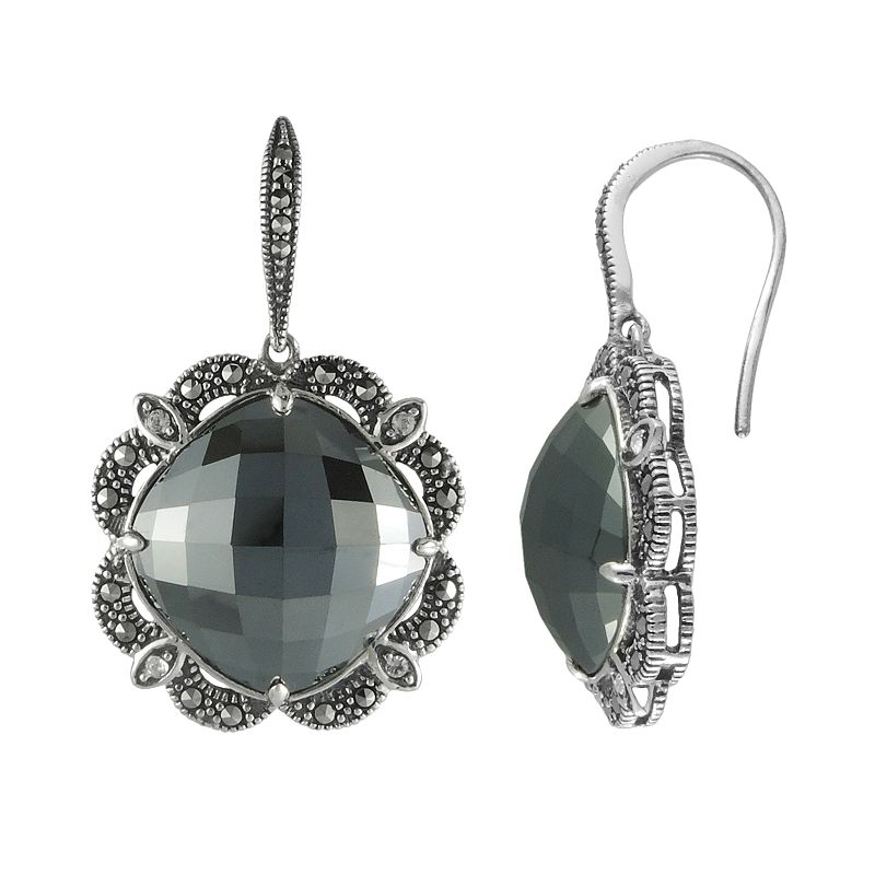 Lavish by TJM Sterling Silver Hematite and Crystal Drop Earrings - Made with Swarovski Marcasite