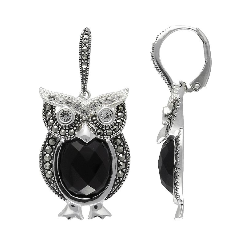 Lavish by TJM Sterling Silver Onyx and Crystal Owl Drop Earrings - Made with Swarovski Marcasite