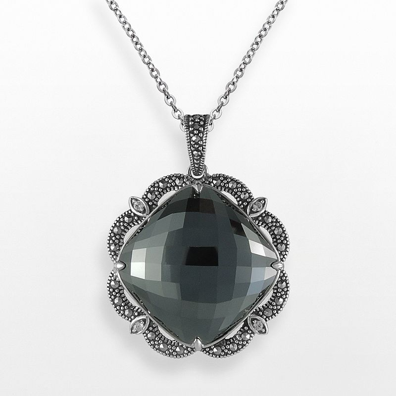 Lavish by TJM Sterling Silver Hematite and Crystal Pendant - Made with Swarovski Marcasite