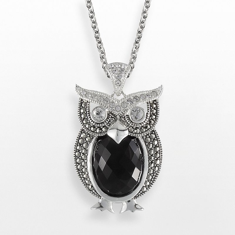Lavish by TJM Sterling Silver Onyx and Crystal Owl Pendant - Made with Swarovski Marcasite