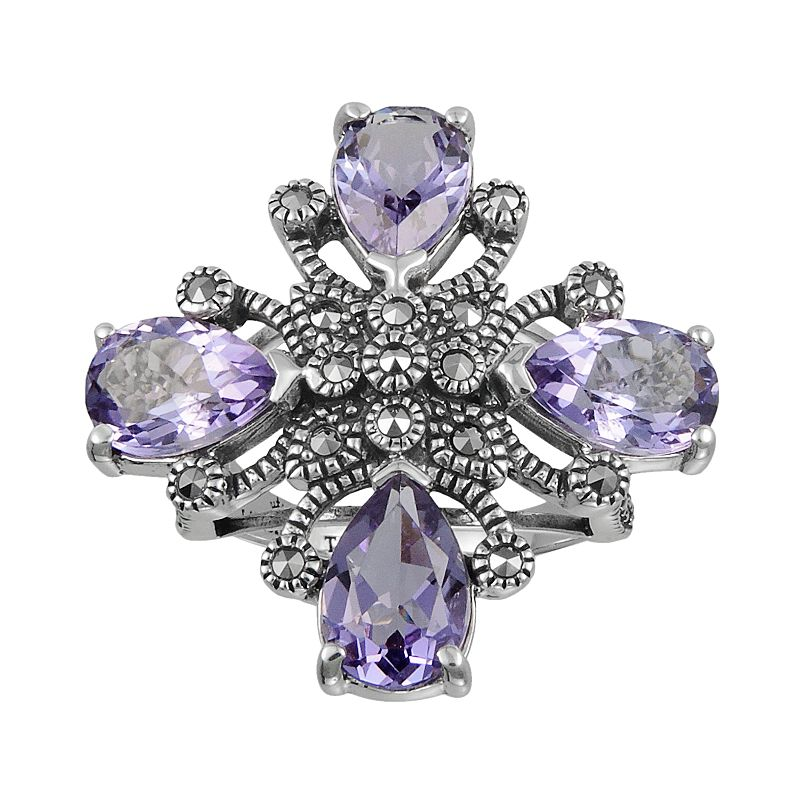 Lavish by TJM Sterling Silver Amethyst Flower Ring - Made with Swarovski Marcasite