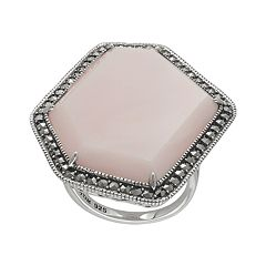 Lavish by TJM Sterling Pink Opal Ring Made with Swarovski Marcasite by
