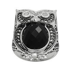 Lavish by TJM Sterling Silver Onyx & Crystal Owl Ring Made with Swarovski Marcasite