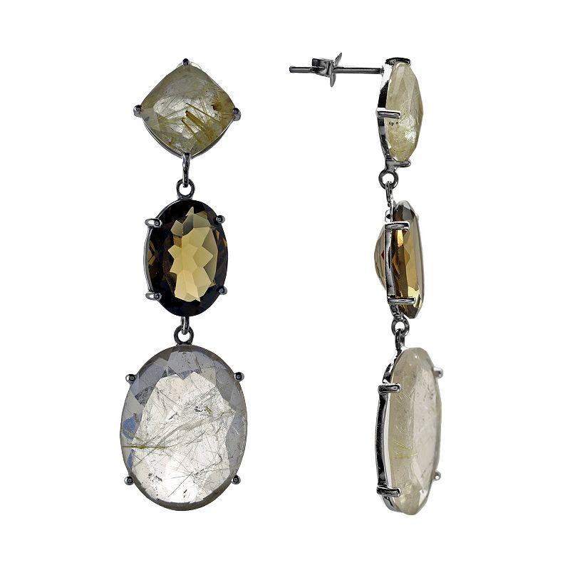 Sterling Silver Golden Rutilated Quartz and Beer Quartz Drop Earrings