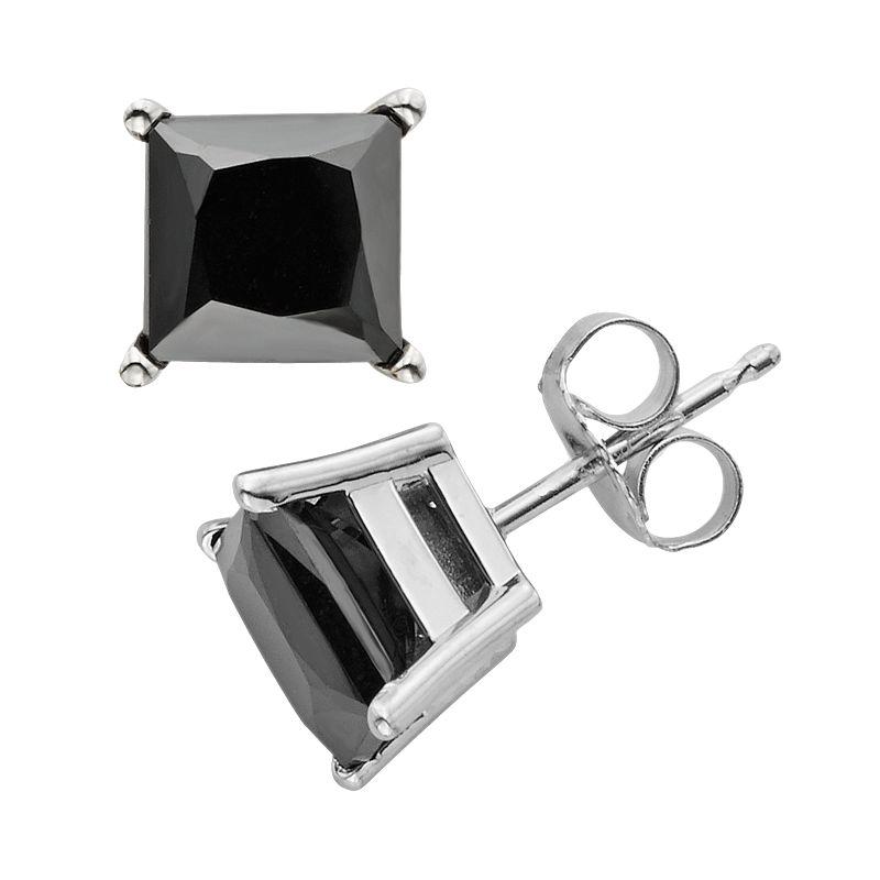 10k White Gold 3-ct. T.W. Black Diamond Solitaire Earrings