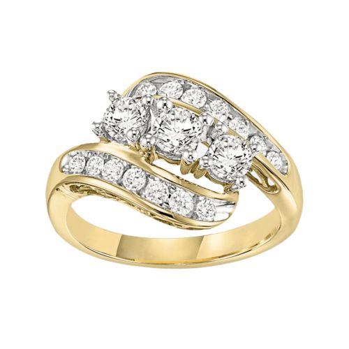 Cherish Signature Round-Cut Diamond 3-Stone Swirl Engagement Ring in 14k Gold (1/4 ct. T.W.)