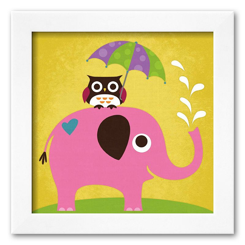 Art.com Elephant and Owl with Umbrella Framed Art Print by Nancy Lee