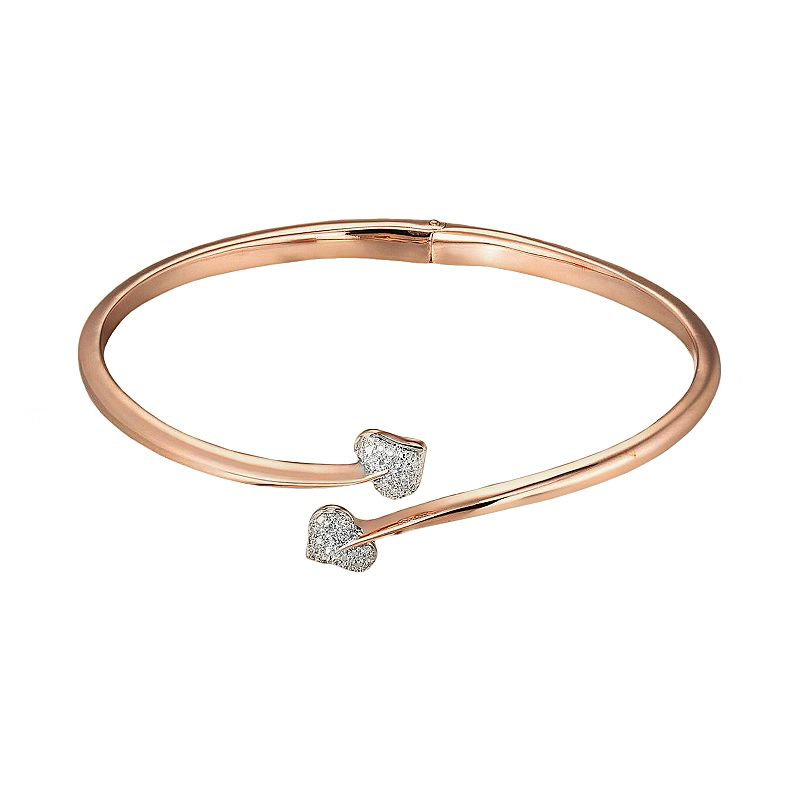 18k Rose Gold Plate and Silver Tone Diamond Accent Heart Bypass Bangle Bracelet