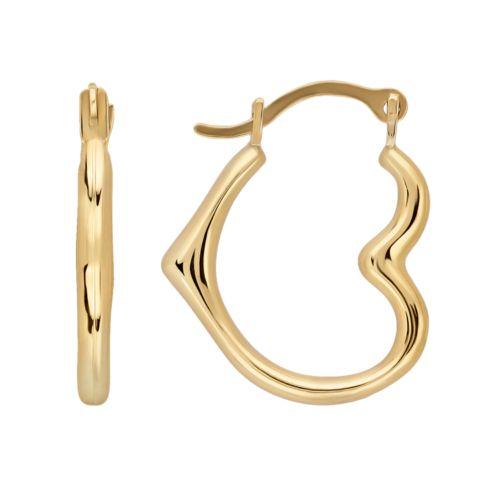 Everlasting Gold 10k Gold Heart Hoop Earrings