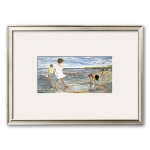 Art.com Collecting Seashells Framed Art Print by Helene Leveillee