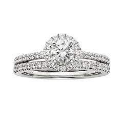 IGL Certified Diamond Engagement Ring Set in 14k White Gold (1 ct. T.W.) by