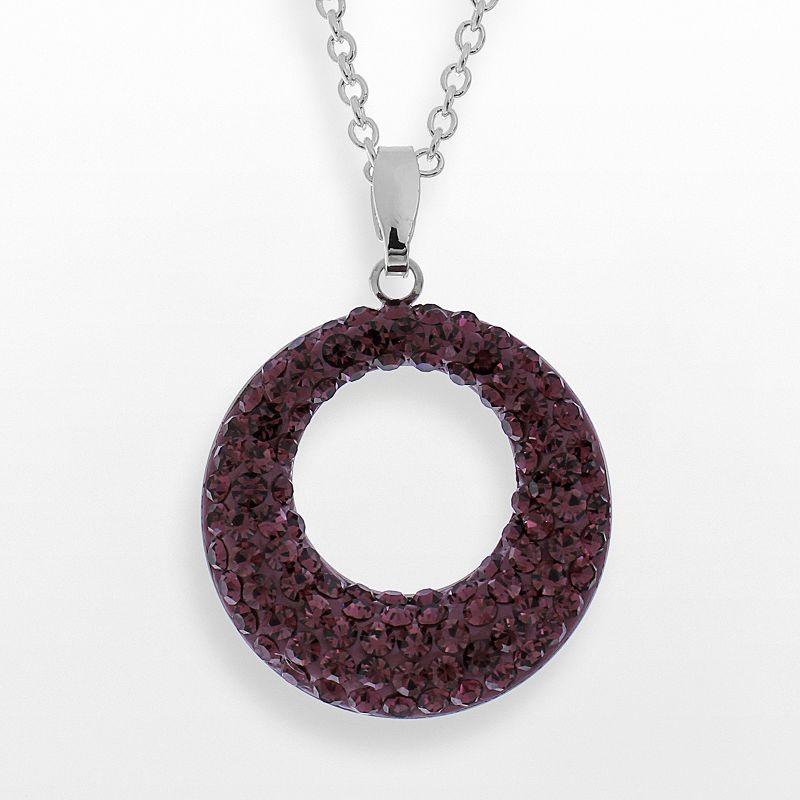 Crystal Avenue Silver Plated Purple Crystal Circle Pendant