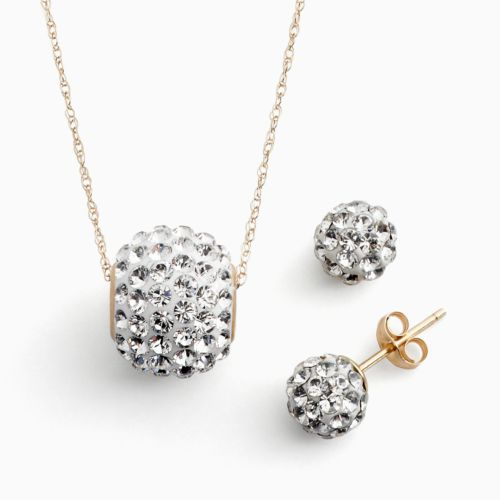 Gold 'N' Ice 14k Gold Crystal Spinner Ball Pendant and Stud Earring Set - Made with Swarovski Elements