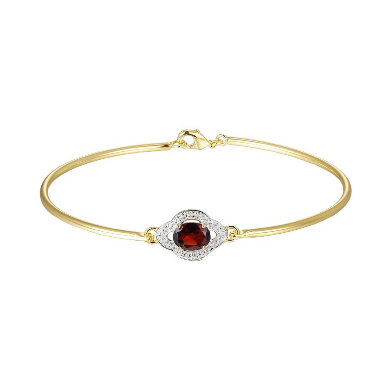 18k Gold Plate Garnet and Diamond Accent Bracelet