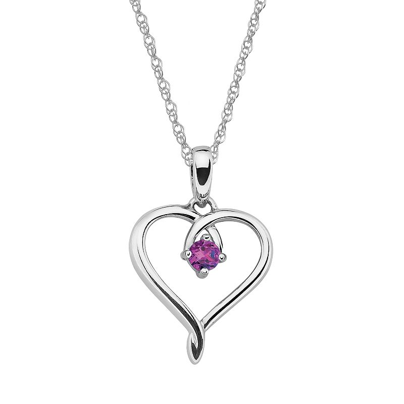 Sterling Silver Lab-Created Alexandrite Openwork Heart Pendant