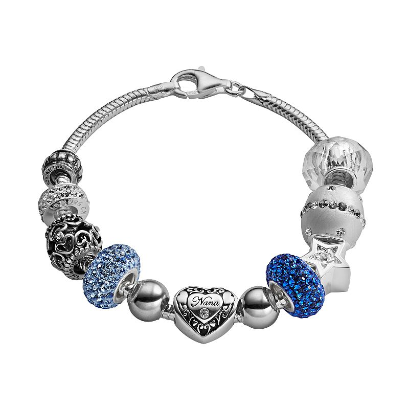 Individuality Beads Sterling Silver Snake Chain Bracelet and Crystal Nana Heart Bead Set