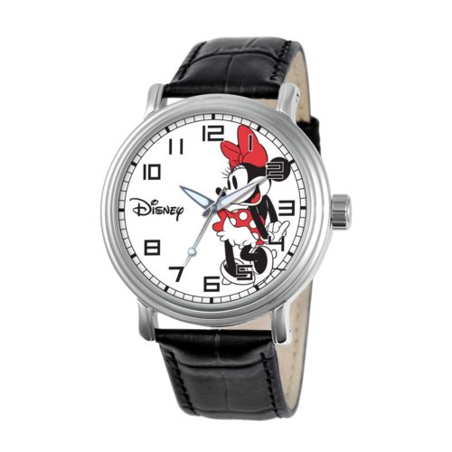 Disney Minnie Mouse Silver Tone Leather Watch