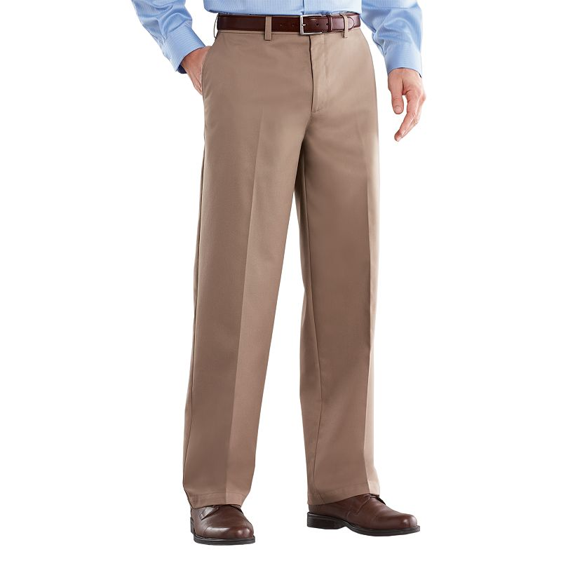 Big & Tall Croft & Barrow® Back-Elastic Khaki Easy-Care Flat-Front Pants -