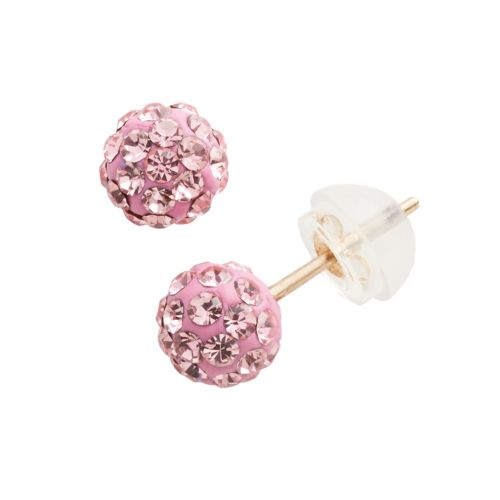 Junior Jewels 10k Gold Crystal Ball Stud Earrings - Kids