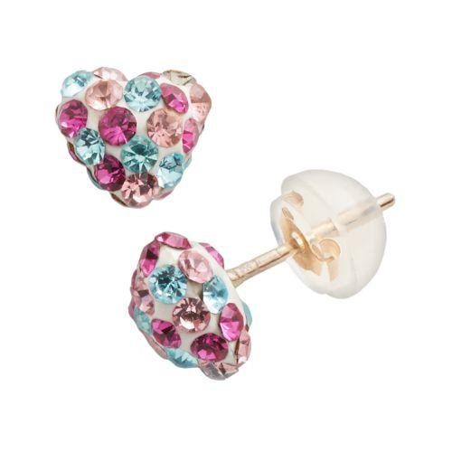 10k Gold Crystal Heart Stud Earrings - Kids