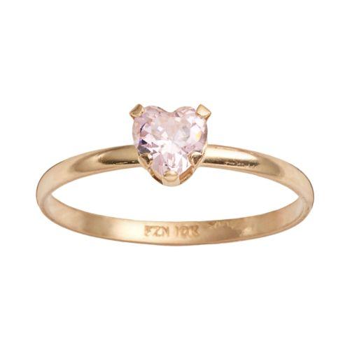 Junior Jewels 10k Gold Cubic Zirconia Heart Ring - Kids