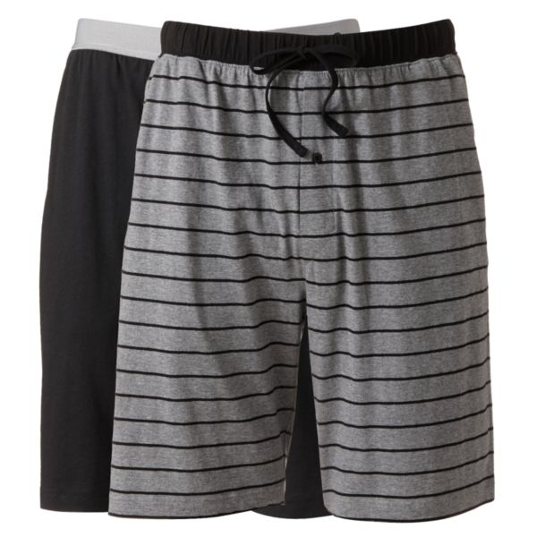 Men's Hanes Classics 2-pk. Striped and Solid Knit Lounge Shorts